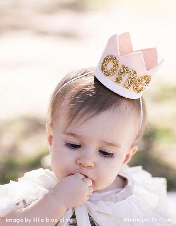 Girl's First Birthday Crown - Blush Felt with Gold Glitter One