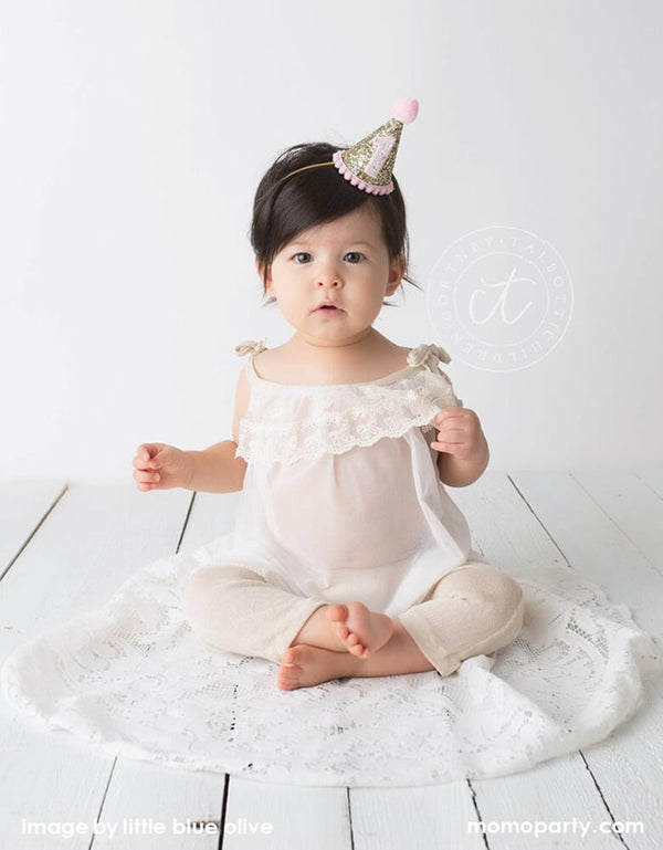 Gold Glitter + Pink Pom Pom First Birthday Hat