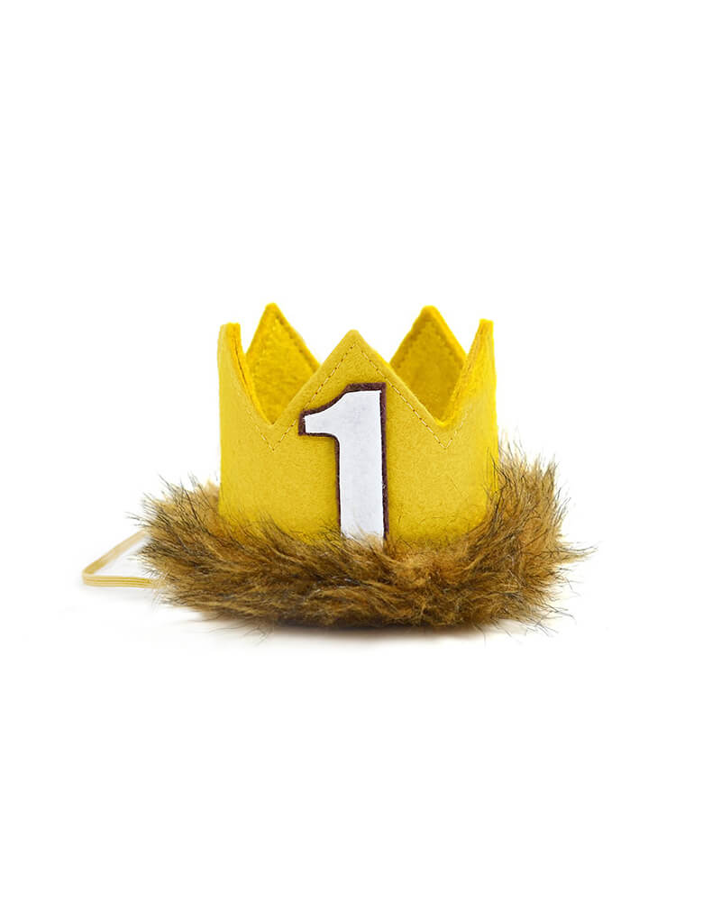 Little Blue Olive Wild-One-First-Birthday-Crown. This Gold Felted Fur Crowns are hand crafted of a high quality, USA made wool blend felt and is attached to a skinny elastic headband. with white felt number one on top, They are the perfect accessory for birthday celebrations, memorable photo shoots and every day fun for dress up. Especially for your Where The Wild Things Are Themed Party, Jungle Birthday, Wild One  1st Birthday party, Lion Birthday, Safari themed party, Safari animal party