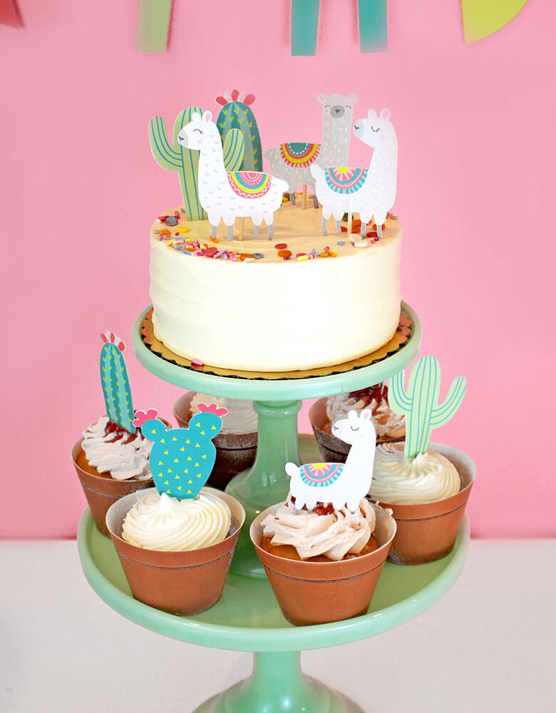 Merrilulu's Llama and Cactus Cupcake Toppers on cupcakes in a fiesta themed birthday