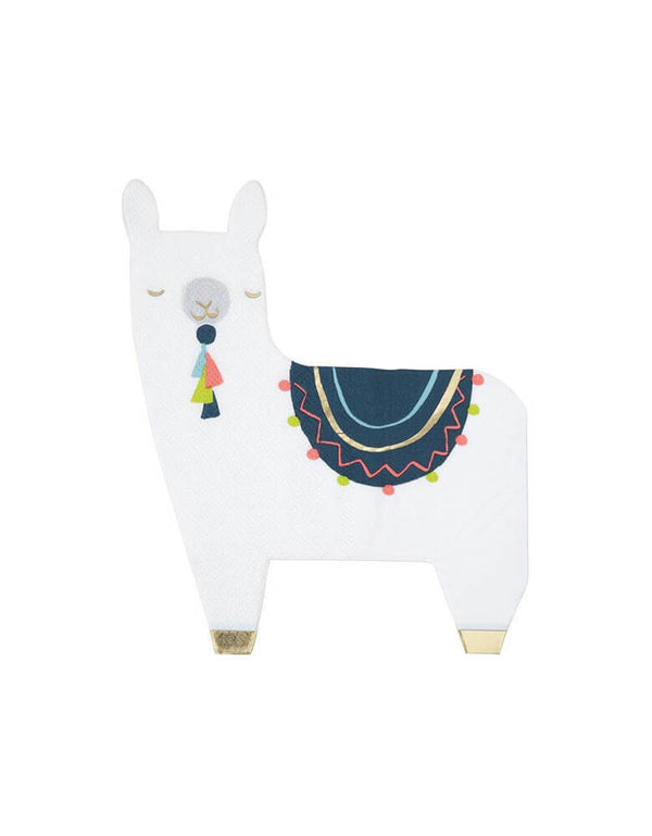 Meri Meri Llama Napkins. Pack of 16. Featuring adorable llama shaped napkins.Beautifully designed and crafted, with lots of shimmering gold foil detail