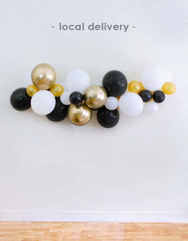 "Balloon Local Delivery of Balloon Garland Assorted with 11"" (large) & 5"" (small) latex balloons in chrome gold (11"" only), white, black, and gold, perfect decoration for a Graduation Party and Celebration at home"