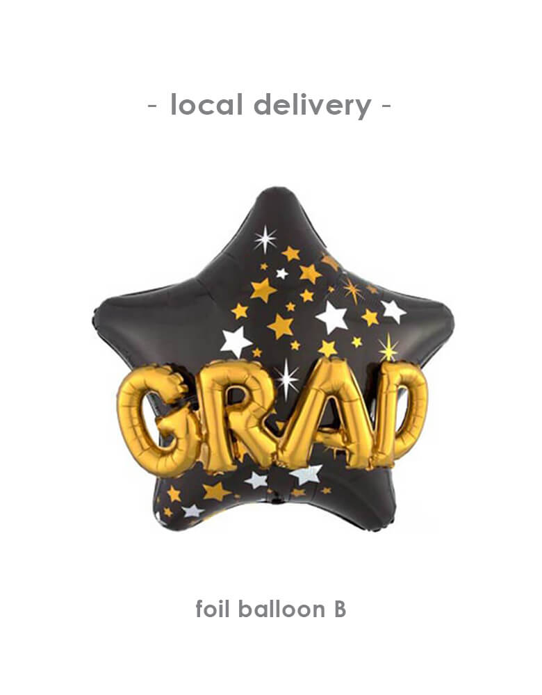 "Anagram Grad Star Multi-Balloon Graduation Super Shape Foil / Mylar Balloon 36"" for Balloon Local Delivery"