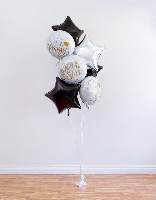 "Balloon Local Delivery of 3 round balloon of ""Reach For The Stars"" ""finally"" ""congrats grad"" sign and silver star, 3 black star Foil Balloons, ribbon, and a balloon weight for a Graduation Party and Celebration at home"