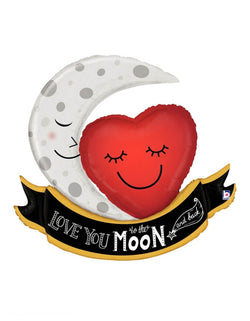 "Betallic balloons -  Love You To The Moon and Back Foil Balloon, featuring 42 inches foil balloon with a smiley eye closed moom and red heart next to each other with a ""love you to the moon and back"" text on a ribbon at the bottom"