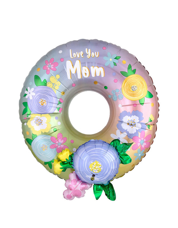"Anagram Balloons -  Love You Mom Wreath Multi-Foil Balloon.  40825 Love Mom Wreath Multi balloon. With a sweet message ""Love You Mom"", Celebrate Mother's Day with this beautiful floral wreath."