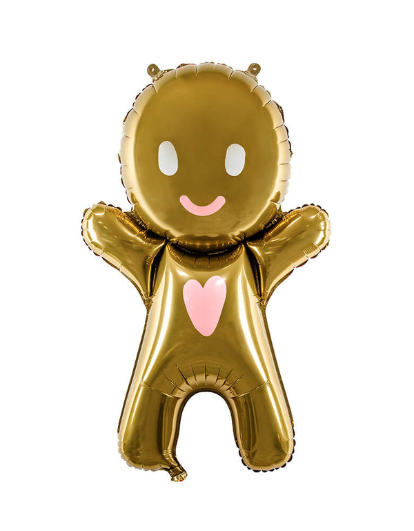 Party Deco 34 inch large Lovely Gingerbread Man Foil Mylar Balloon, feathering a gingerbread man shaped with pink heart on the body and happy face. this cute modern designed balloon is perfect for kids Christmas party, holiday celebreation