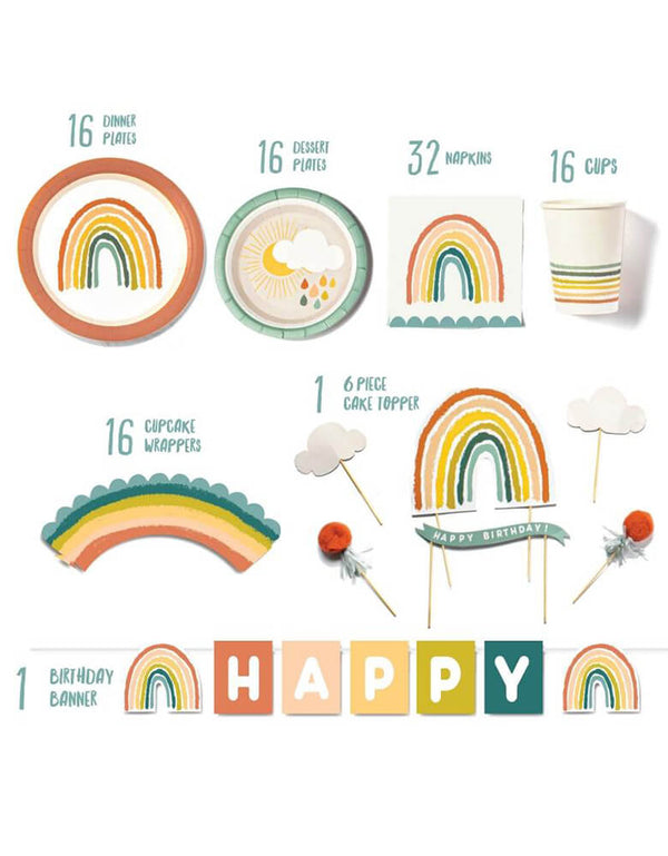 Lucy Darling Little-Rainbow-Party-in-a-Box_items-list including party dinner plates, dessert plates, cake topers, cupcake wrappers, party cups, and party banners