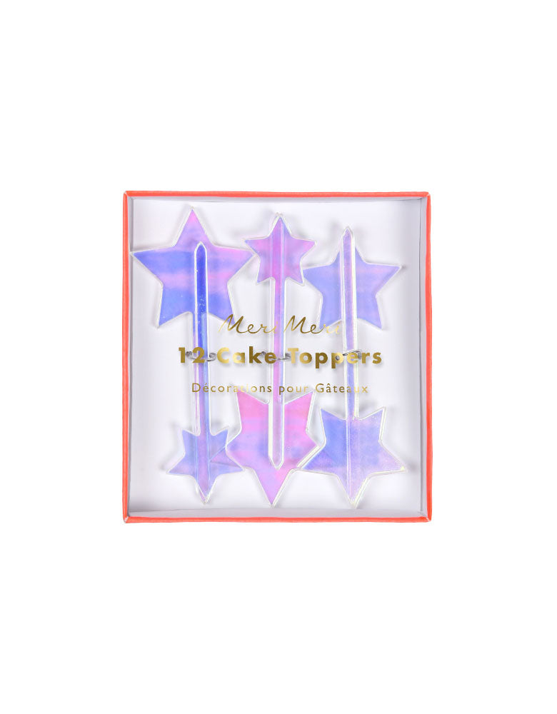 Iridescent Star Toppers (Set of 12)