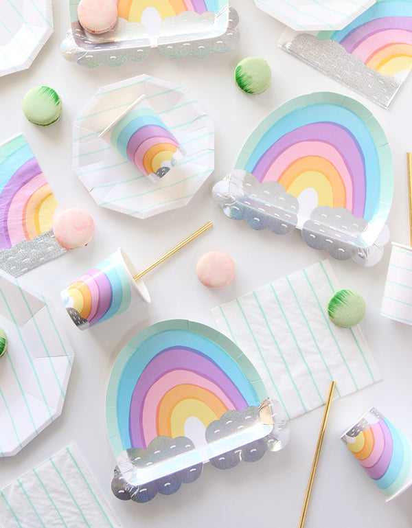 over the rainbow pastel die cut large paper plates and cups