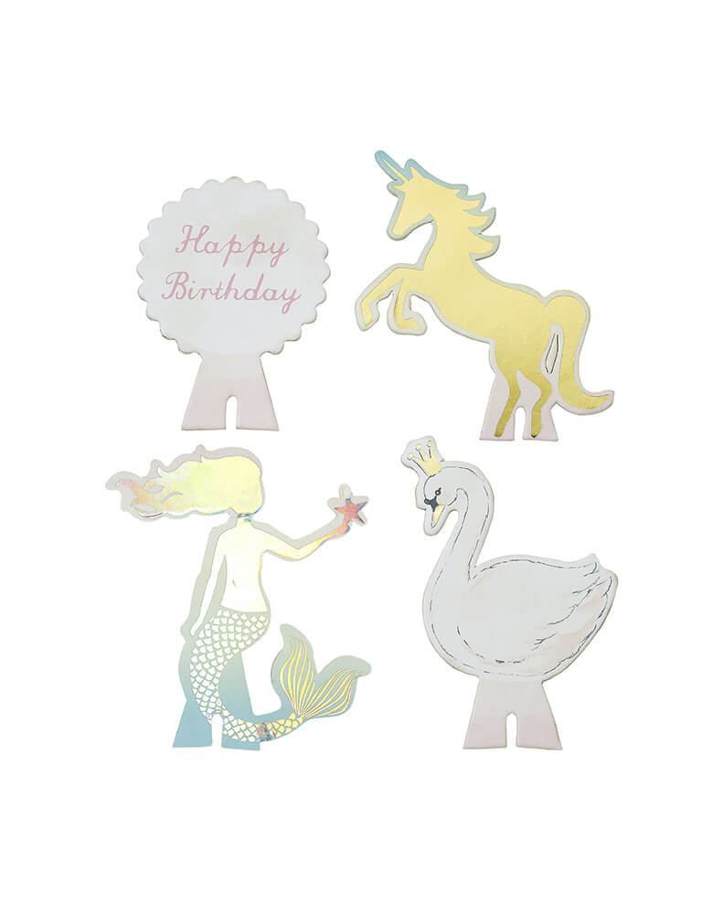 cupcake stand interchangeable toppers with unicorn, swan, mermaid and happy birthday design