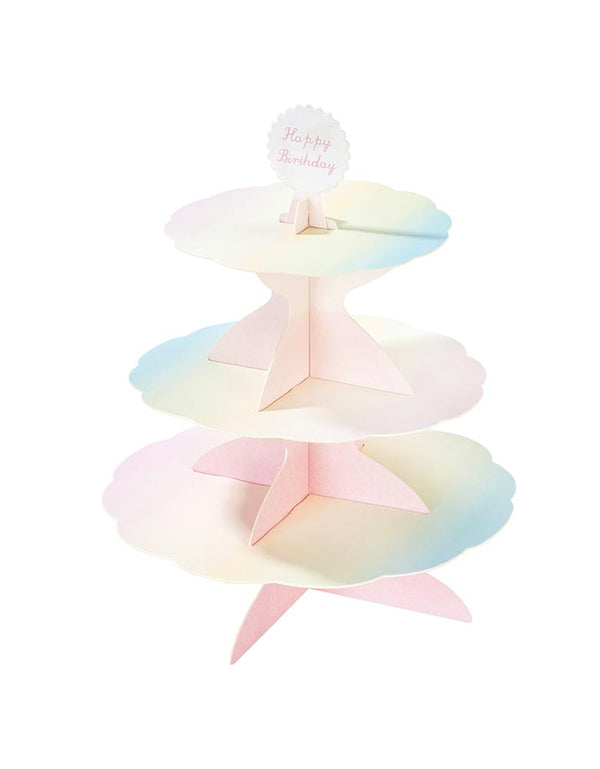 Assemble and reversible cupcake stand with Happy Birthday Topper