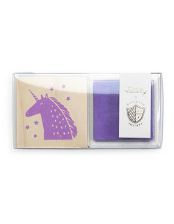 Day Dream Society Magical Unicorn Rubber Stamp set with purple ink, for stamping favor bags and tags, table signs, thank you card, hand craft