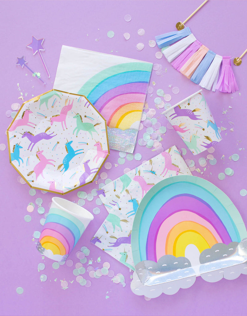 magical unicorn small paper plates with rainbow large plates, cups and napkins
