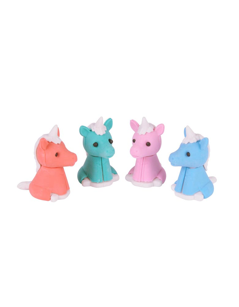 Schylling Mini Unicorn Erasers Set with 4 colorful unicorns