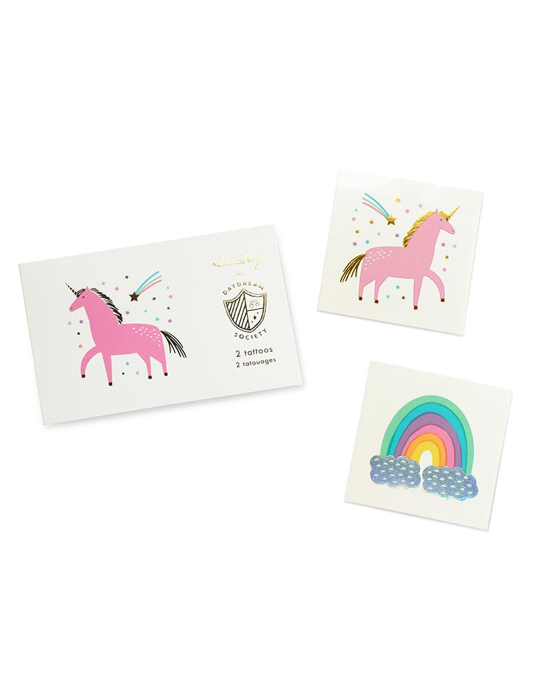 Unicorns & Rainbows Temporary Tattoos (Set of 2)