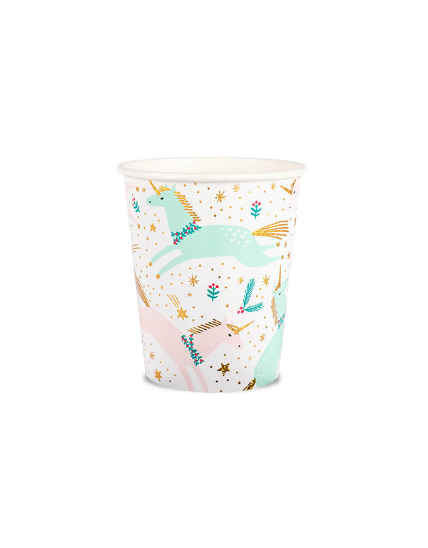 Daydream Society 9 oz Magical Christmas Cups featuring unicorn illustrations in pastel colors