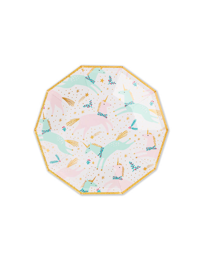 Daydream Society 7.5 inches Magical Christmas Small Plates featuring unicorn illustrations in pastel colors