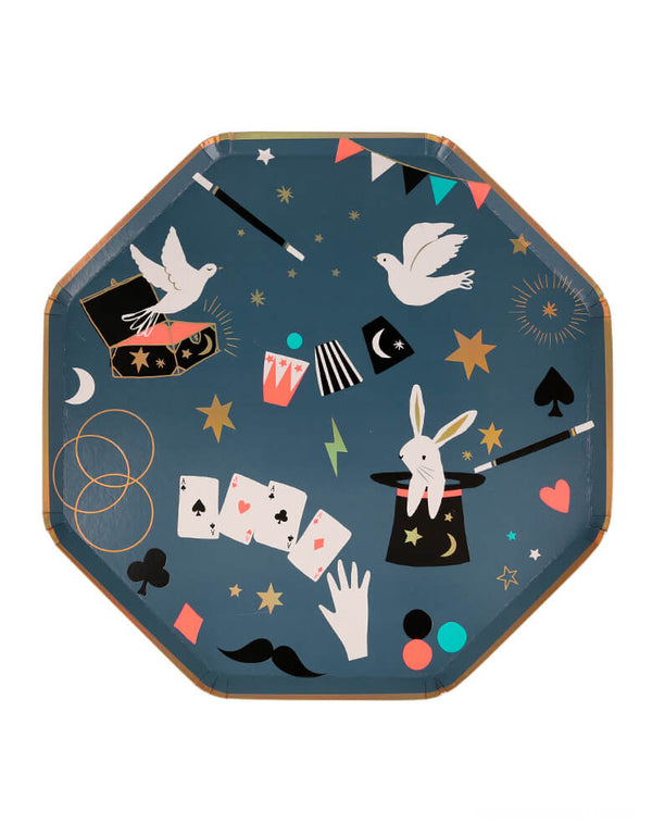 Meri Meri Magic Dinner Plates, featuring iconic magical design with modern illustration of bunny in the hat, magic cards, dove out of the box, flag, mustache, Magic Wands design. Plates are crafted in an octagonal shape with golden foil border, and golden foil details.  They're perfect for a magic themed celebration!