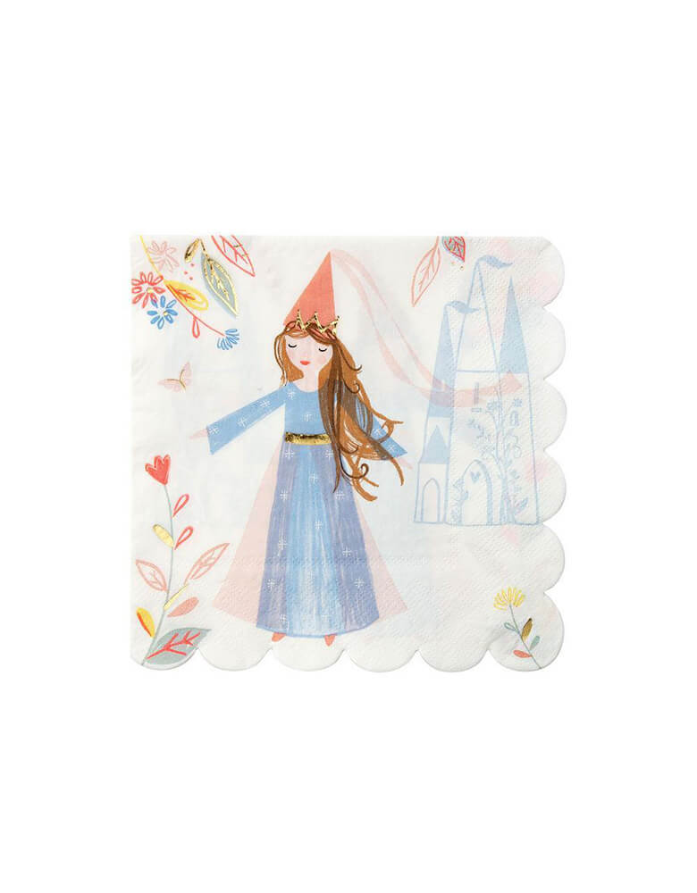 "Meri Meri Magical Princess 6.5"" Large Napkins with illustrations of a princess, a castle and flowers"