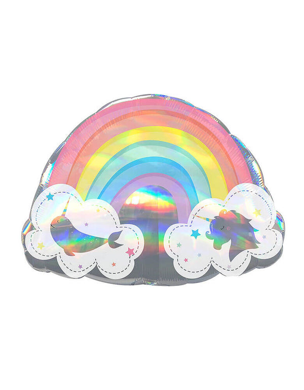 "Anagram 28"" Holographic Magical Rainbow Unicorn And Narwhal Foil Balloon, This shimmering foil balloon is shaped like a rainbow and features a unicorn and a narwhal on either side, Add a little magic in a big way with this ultra shiny rainbow balloon complete with clouds swimming with a narwhal & unicorn and iridescent sheen, An amazing way to decorate a rainbow unicorn birthday or celebrate someone special!"