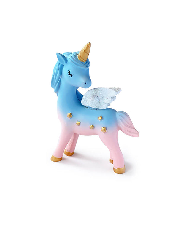Magical Unicorn Cake Topper, 4 inch tall, with blue and pink color, gold horn and gold stars on the body. Unicorn toy, Unicorn figure, Unicorn display toy for a Unicorn lover and rainbow birthday party, unicorn birthday party gift