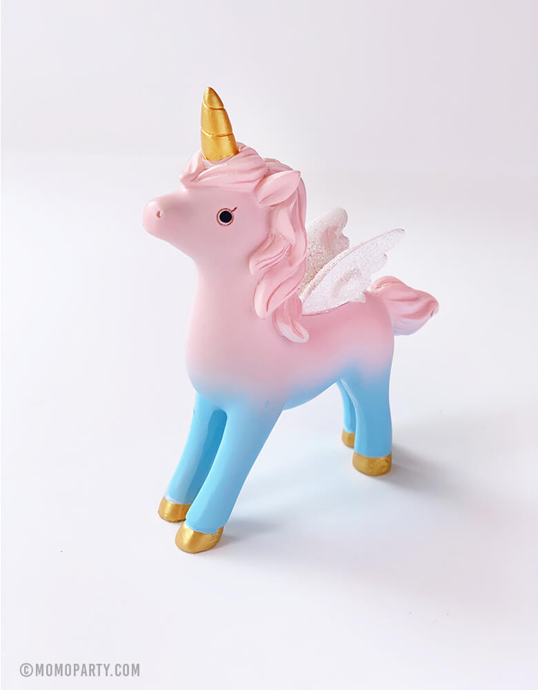 Magical Unicorn Cake Topper, 4 inch tall, with Pink body and pastel blue legs, gold horn and gold stars on the body. Unicorn toy, Unicorn figure, Unicorn display toy for a Unicorn lover and rainbow birthday party, unicorn birthday party gift