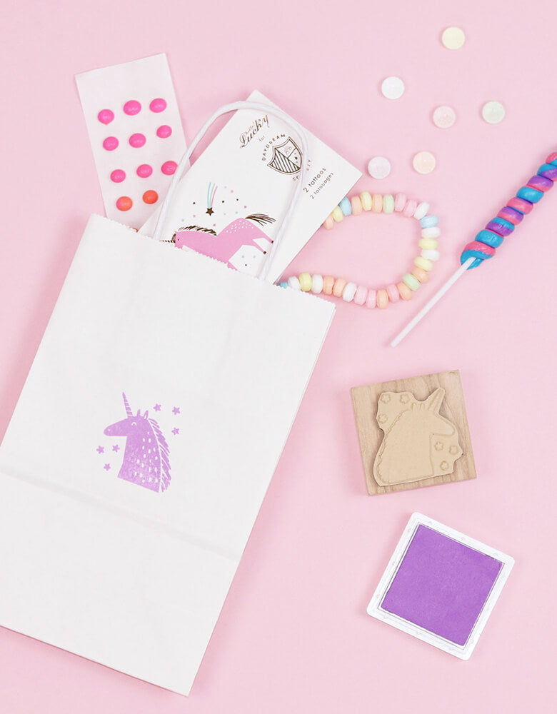Magical Unicorn party favor bag with Day Dream Society Magical Unicorn Rubber Stamp, Unicorns & Rainbows Temporary Tattoos and candies