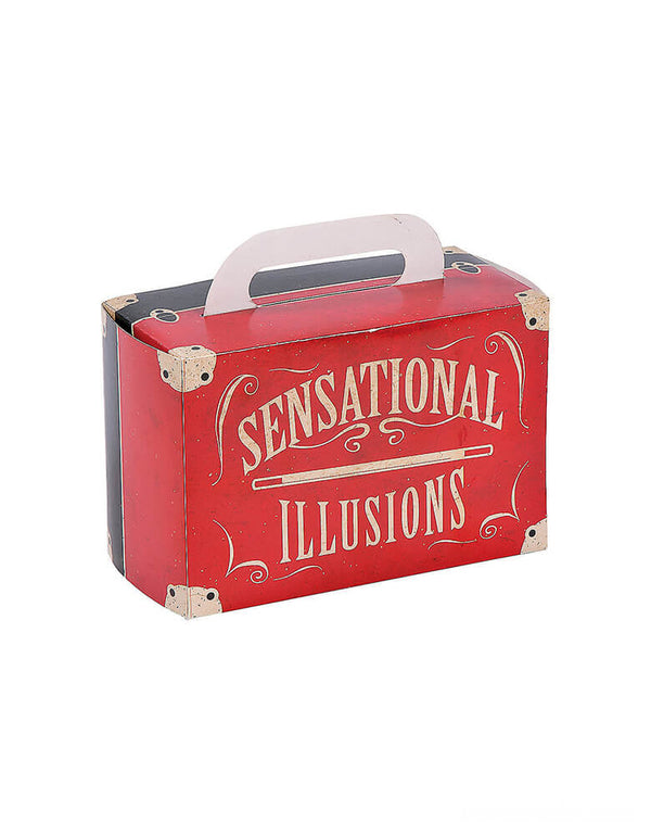 "Back design of Magical Party Favor Boxes. Featuring a Magic suitcase shape with ""Sensational illusions"" words.These treat boxes come designed to look like a marvelous magician's trunk which are perfect for Goodes and candies!"