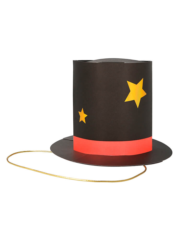 Meri Meri Magician Party Hats. The hats feature metallic gold elastic, which is threaded through the holes and knotted Lots of gold holographic detail for a stylish effect. hey are perfect for a magic show themed celebration where you want to have a magical time.
