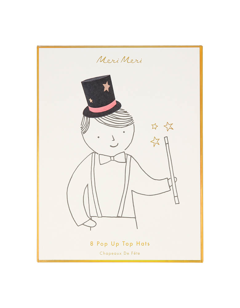 package design of Meri Meri Magician Party Hats. with single line drawing boy wearing the magic hat, printed on the box with gold foil edge