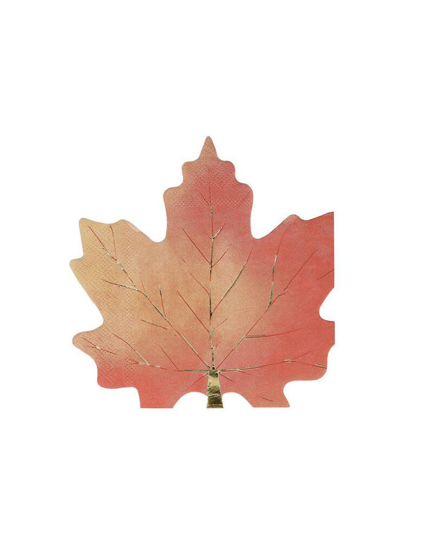 Meri Meri Maple Leaf Napkins, They're crafted with gorgeous colors and gold foil detail. These beautiful maple leaf die cup shaped napkins will look sensational on your Thanksgiving celebration table. Sold by Momo party store provided modern party supplies, boutique party supplies, chic holiday party supplies and high end party supplies