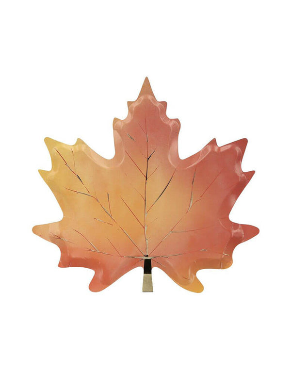 Meri Meri Maple Leaf Plates. They're printed on both sides with fabulous Fall leaf colors and shiny gold foil detail. These beautiful maple leaf plates will make your Thanksgiving celebration, or any Fall party, look both traditional and stylish. Sold by Momo party store provided modern party supplies, boutique party supplies, chic holiday party supplies and high end party supplies