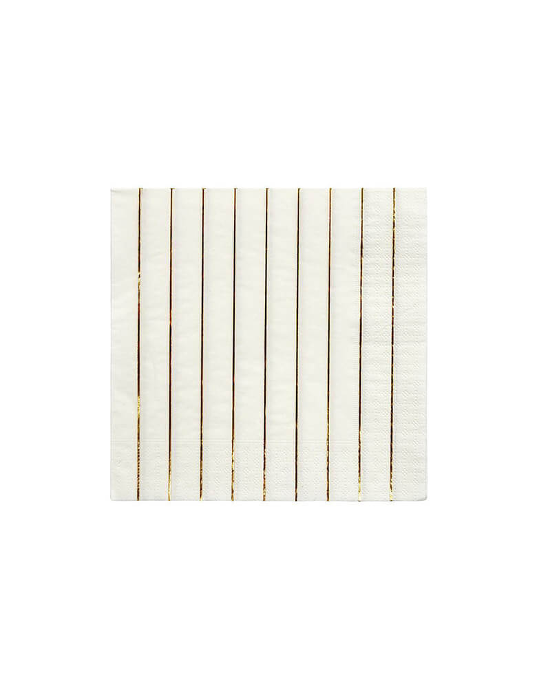 Gold Stripe Large Napkins (Set of 16)