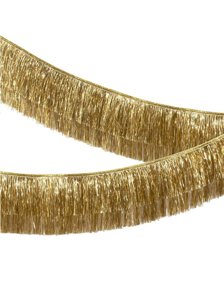 Meri Meri 6-feet-Gold-Tinsel-Fringe-Garland-close up two layers