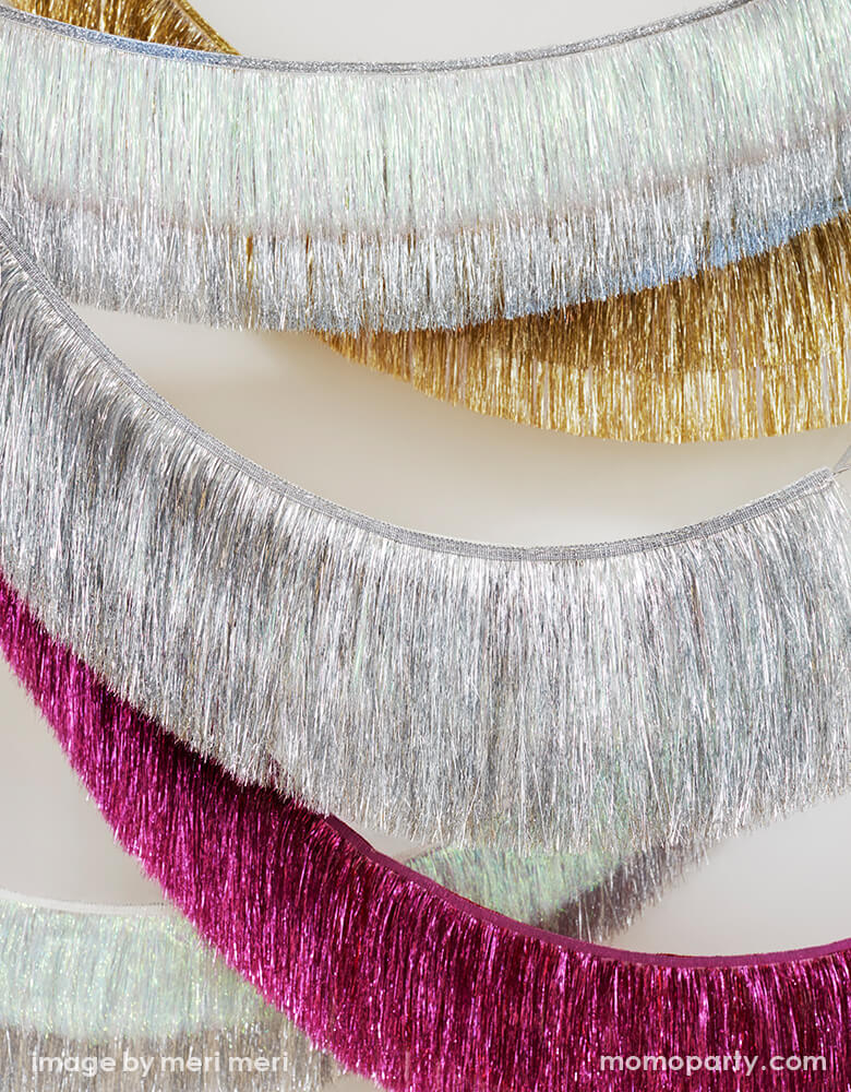 Meri meri Holiday Tinsel Fringe Garlands in Sliver, pink, gold