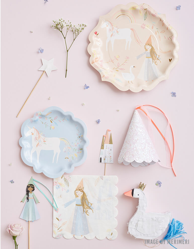 Meri Meri Magical Princess Collection of Plates, Napkins, and cupcake toppers with illustrations of princesses, swans, unicorns and rainbows