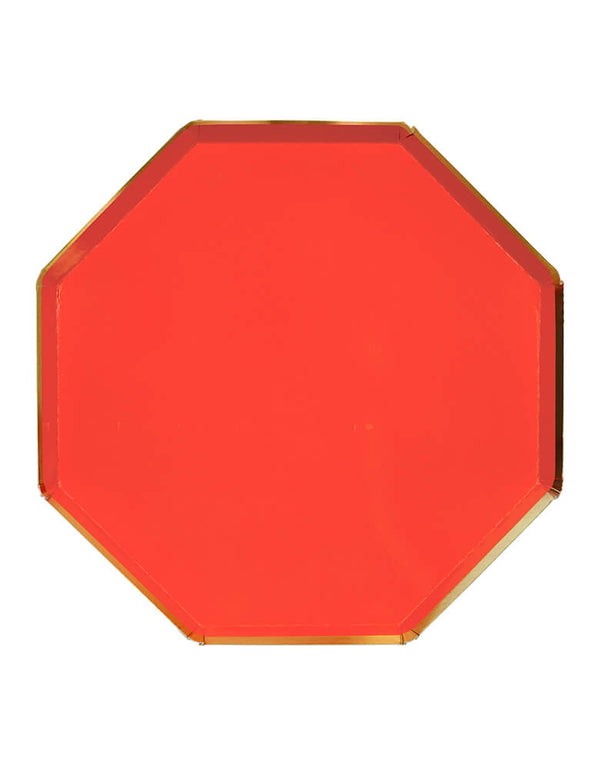 Meri Meri - Red Dinner Plates. pack of 8. Made from high-quality card with a shiny gold foil border and superb gloss finish, they are great for christmas party,  superhero party, Farm themed birthday, or any modern party and celebrations