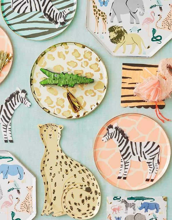 Meri-Meri-Safari-Animal-Collection-Tablescape featuring party plates, napkins in wild animal designs