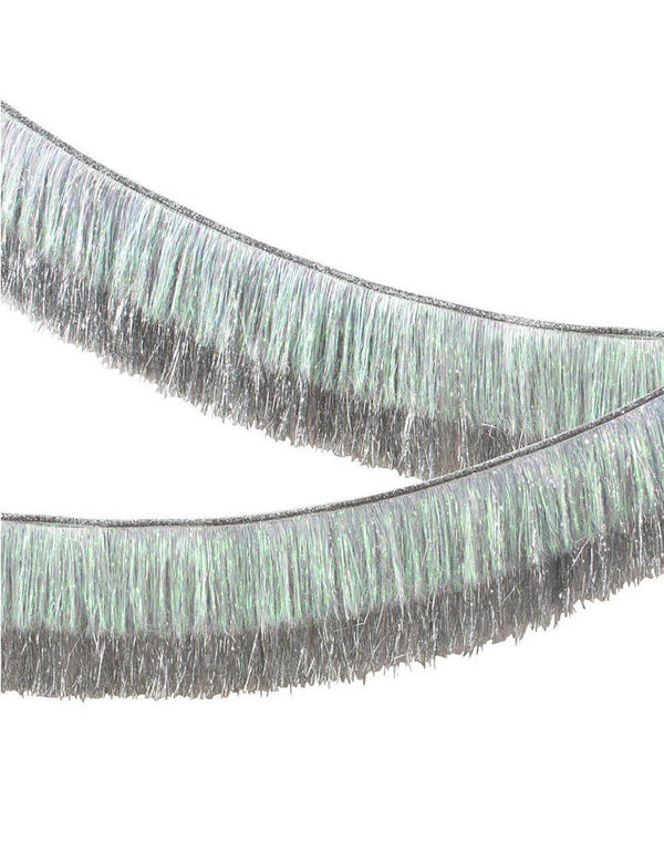 Meri-Meri-6 feet-Silver-Tinsel-Fringe-Garland_Close Up Two Layers