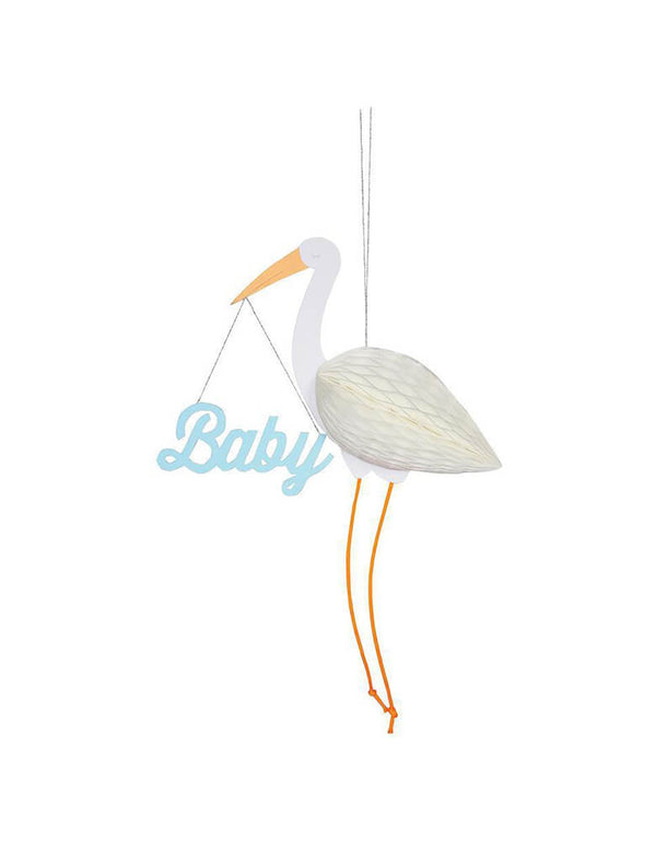Blue Baby Boy Stork Honeycomb Card