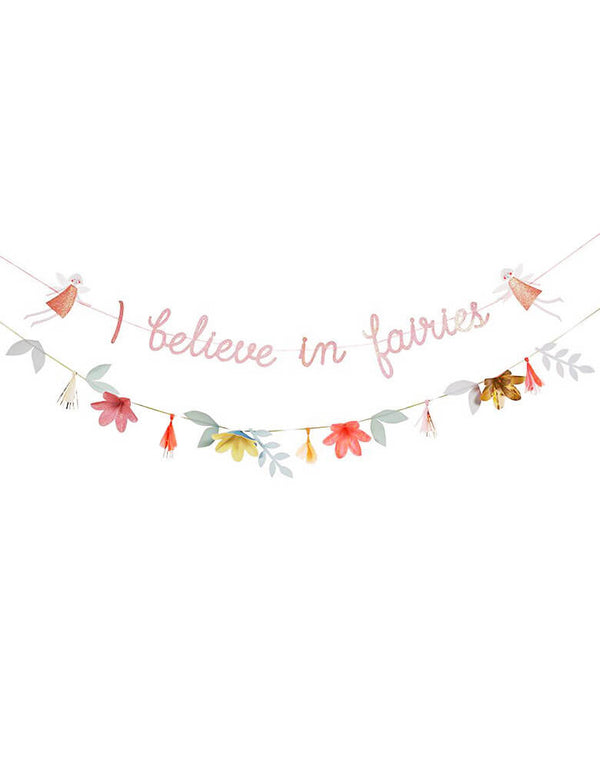 "MeriMeri-Fairy-Garland with with fairy pennants, flowers and ""I believe in fairies""message in a pink script suspended"