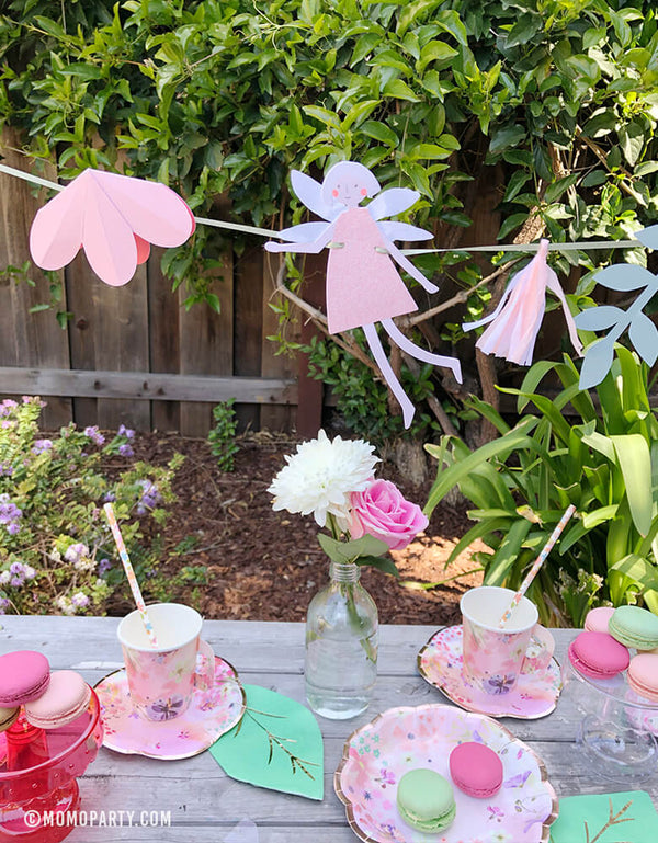 Garden Tea Party with MeriMeri-Fairy-Garland with fairy pennants, flowers, Talking Tables' Blossom Girls Small Plates and cups