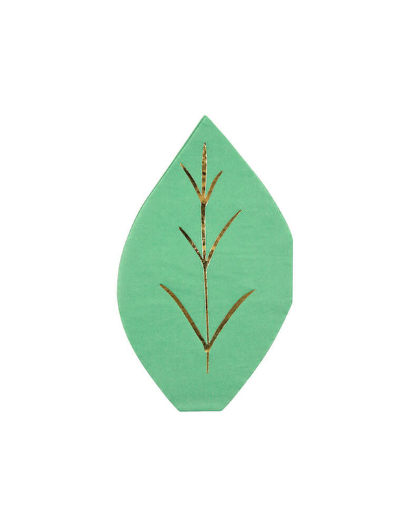 Meri Meri Green Leaf Shape Napkins. Featuring a leaf die cut shape in forest green and are embellished with shiny gold foil