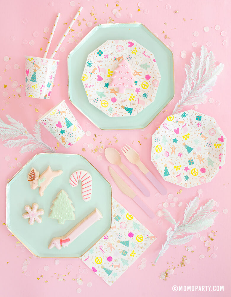 Meri Meri Mint Large Dinner Plates pair with Daydream Society Merry and Bright Holiday Christmas Party Plates,Napkins and Cups, Pink wooden utensils, Christmas themed cookies for a pastel Christmas party celebration