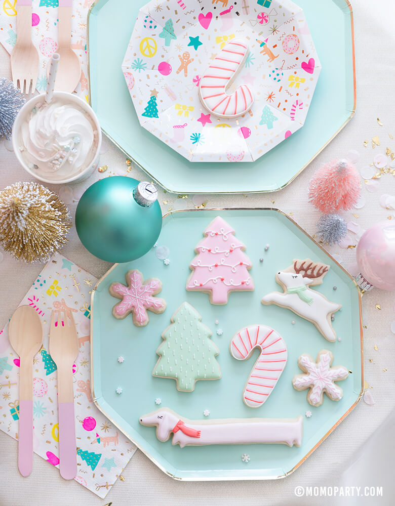Momo party Christmas Merry and bright party tableware with Mint Large Dinner Plates, Merry and Bright Small Plates and mixed of pastel christmas themed cookies