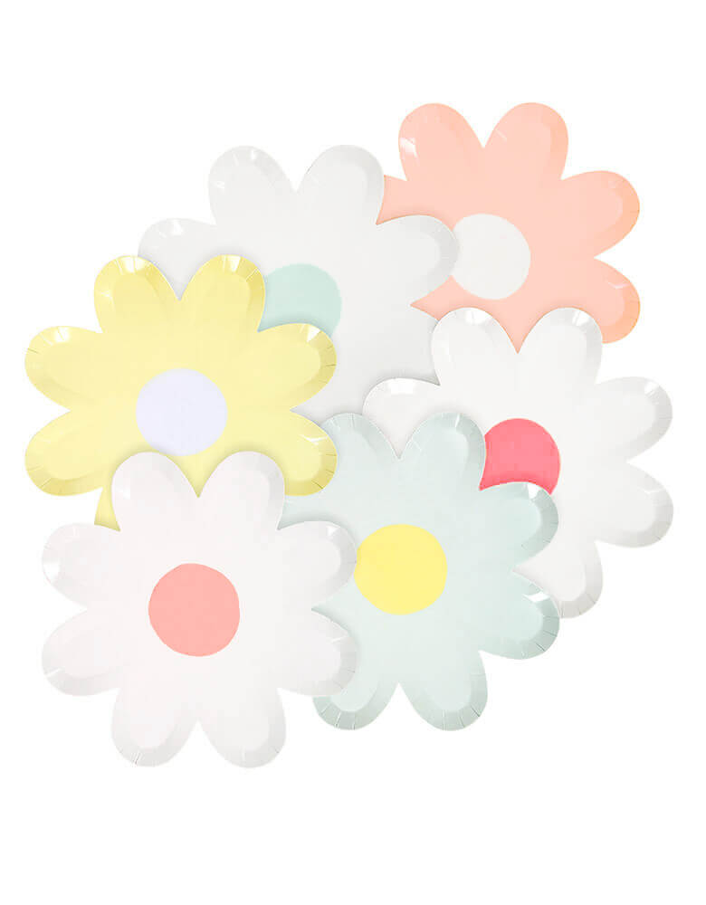 MeriMeri_Pastel-Daisy-Large-Paper Plates with in 6 cheery colors, flower die-cut shape. Pack of 12