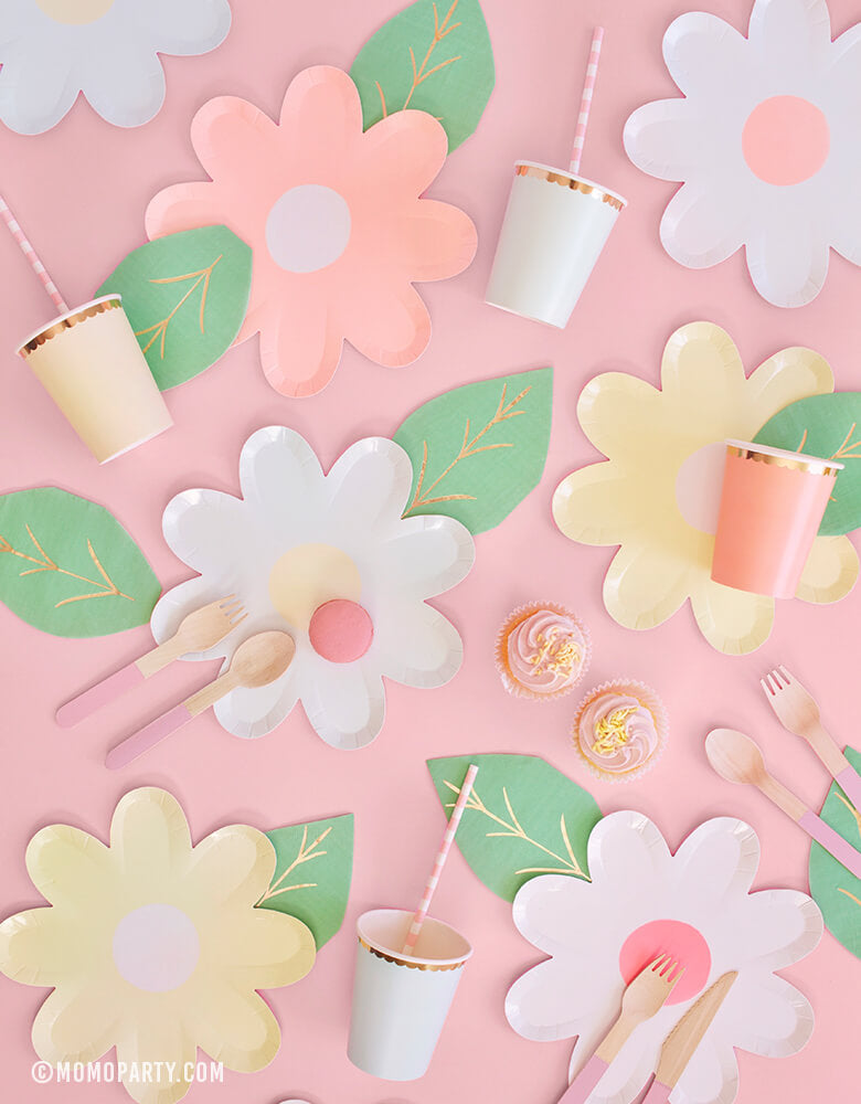 Pastel Daisy Large Plates, Pastel Paper Cups, Leaf Napkins, Pink wooden utensils, cupcakes for Modern Pastel Easter Celebration, Fairy Tea Party Party, Mother's day celebration