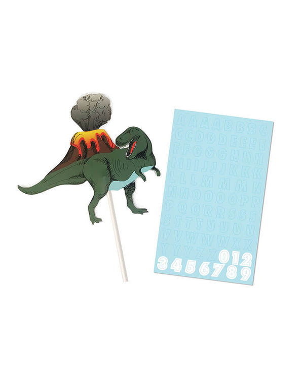 Merilulu-Dinosaur-Party-Custom-Cake-Topper with name and number sticker sheets