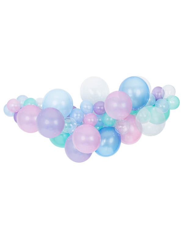 Mermaid Balloon Garland with pearl pink, blue, pearl blue, mint latex balloons